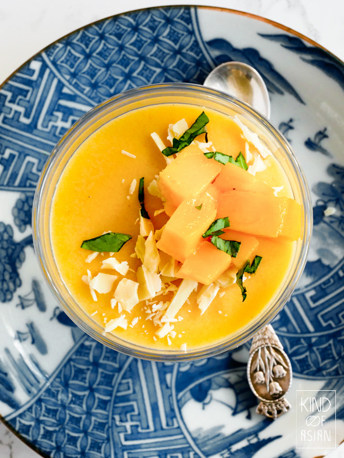 This vegan version of the Chinese mango pudding is light with a silky texture and the summery pinch of lime.juice.