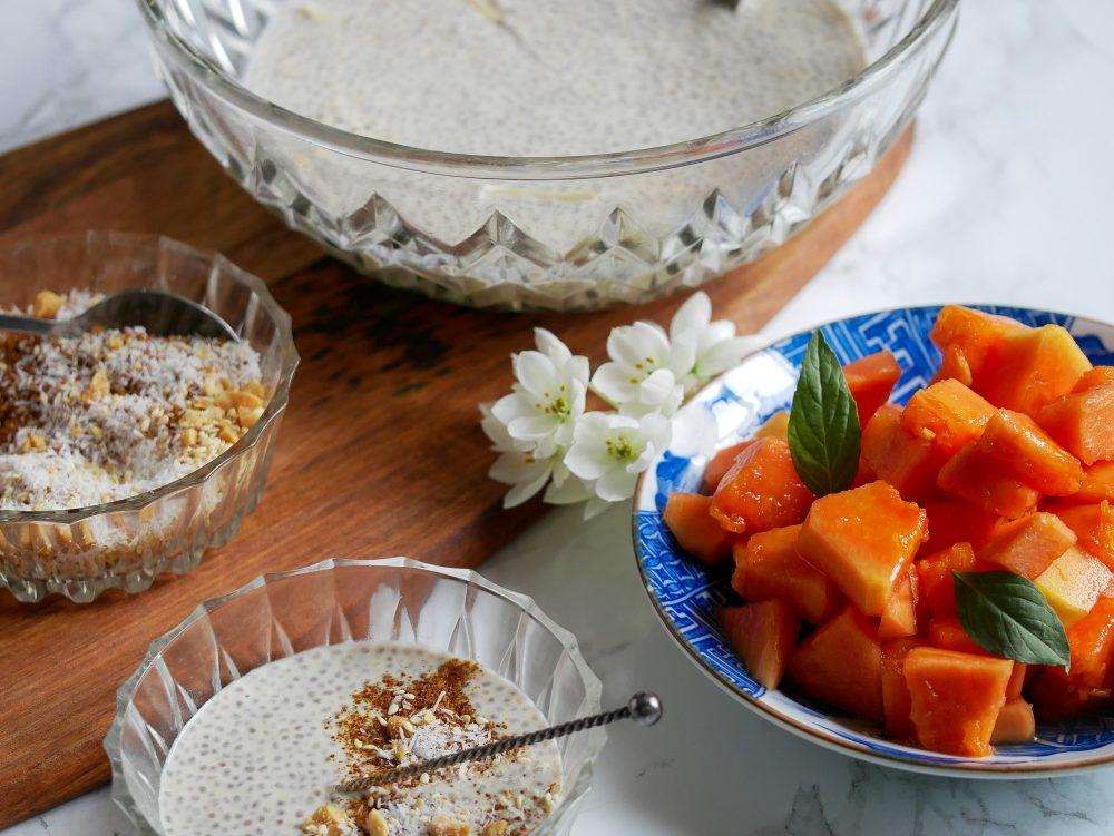 ingrediënten chiazaad pudding met papaja