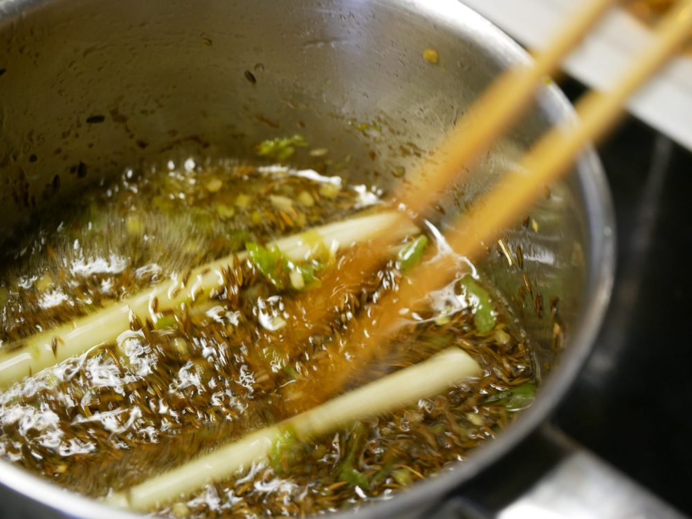 The rice paddy herb is difficult to obtain. A good replacement is a homemade oil of cumin and lemongrass.