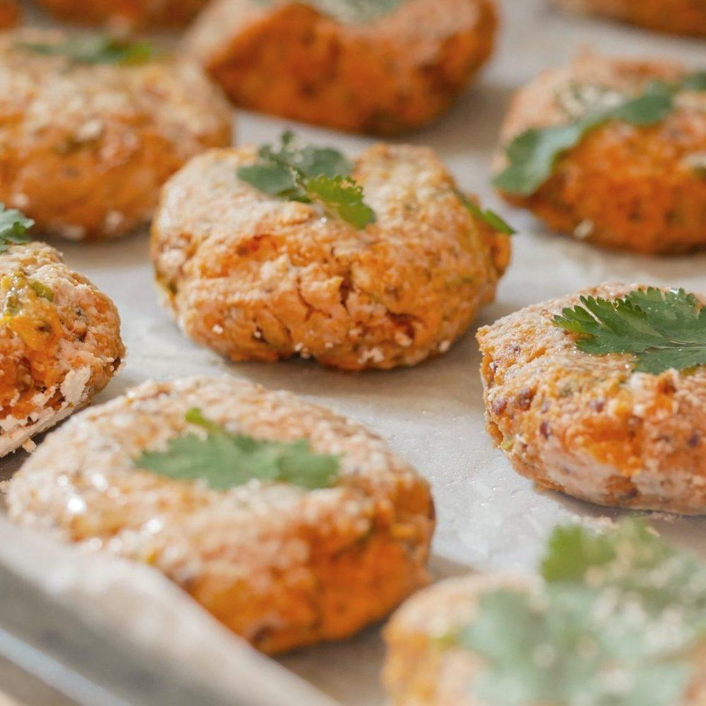 "Thai vegan ""fish cookies"" of sweet potato and quinoa close-up"
