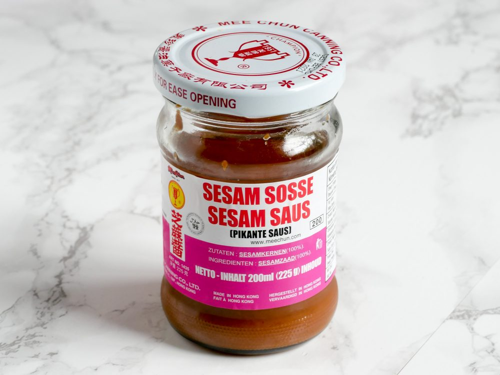 Chinese sesame paste is made from sesame seeds, roasted to a dark colour. The taste is comparable to peanut butter, but fuller and nutty.