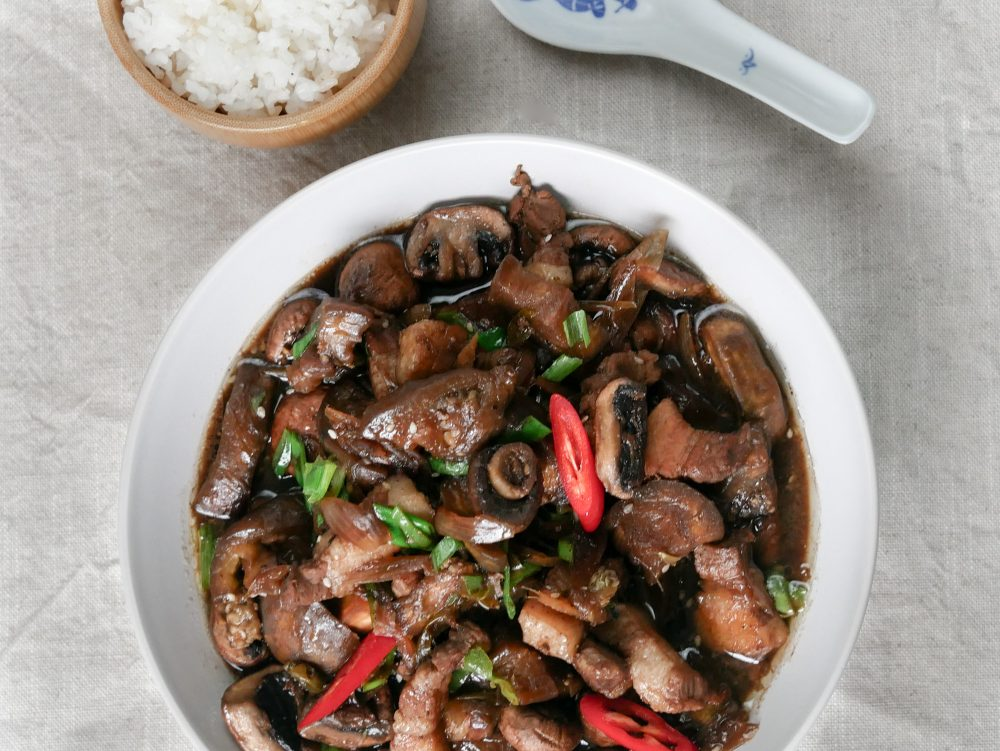 Chinese Comfort Food: Bacon, Aubergines And Mushrooms With Chinese 5-Spice