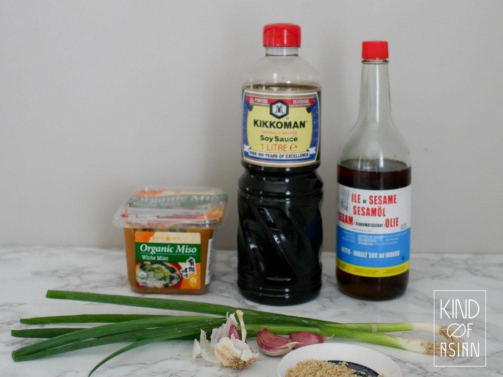 ingredients Korean pasta, spring onion, soy sauce, sesame oil