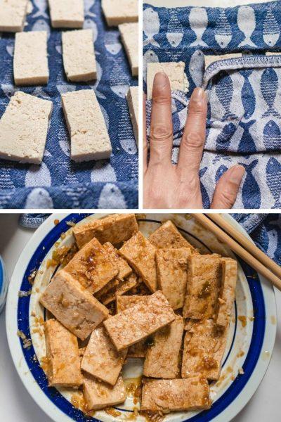 Dep de tofu goed droog met een theedoek, en marineer de tofu in een mengsel van hoisinsaus, citroengras en limoensap.