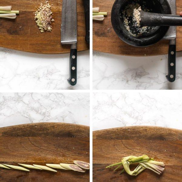 Er zijn 4 manieren van verwerken van de geurige stengels citroengras: kneuzen, in ringen snijden, kleinhakken en fijnstampen tot een puree.