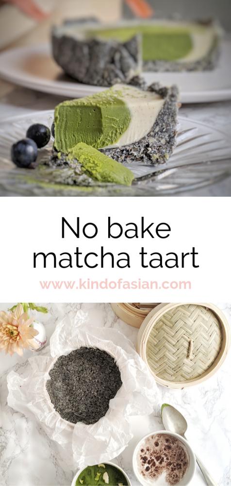 Deze no bake matcha taart is makkelijk te maken. En heel lekker: grassige matcha, nootachtige zwarte sesam en witte chocolade zijn een perfecte combinatie!