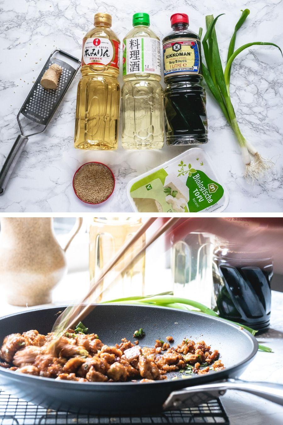 Met flessen sojasaus, sake en mirin huis kun je elke moment een hartige en licht gezoete teriyaki saus maken. Voor een snel en lekker vegan maaltijd. #veganmaaltijd #makkelijkvegan #tofubereiden #teriyaki #tofumakkelijk #vegetarisch #Japanseten