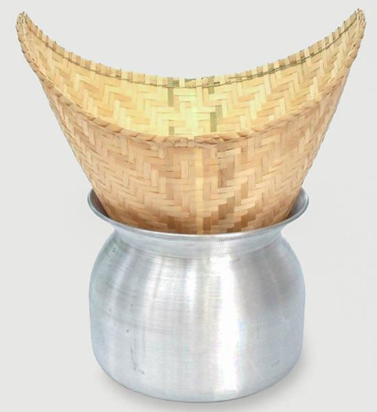 thaise sticky rice stoommand met bijbehorende aluminium pan