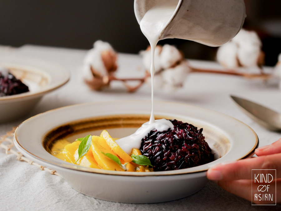 This recipe for Thai sticky rice with mango combines whole grain black sticky rice with creamy white sticky rice. No mushy sticky rice with mango anymore.