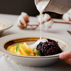 White, creamy Thai sticky rice with mango is familiar to most people. The whole grain black sticky rice may not. Combine these two types for a sweet sticky rice dish with a delicious bite.