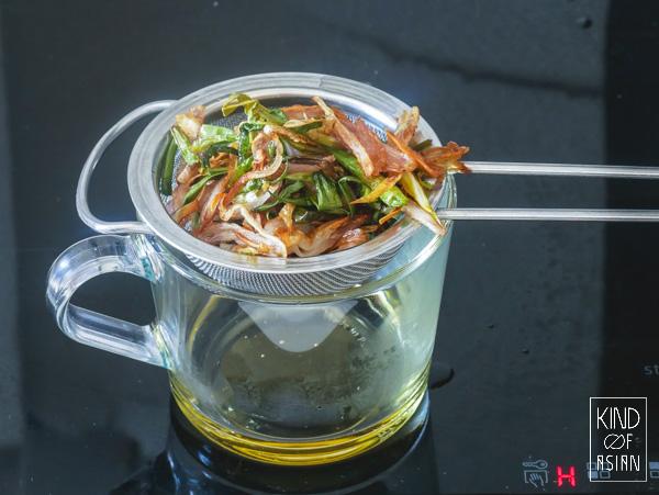 Chinese lenteui-olie voor vegan noodles.