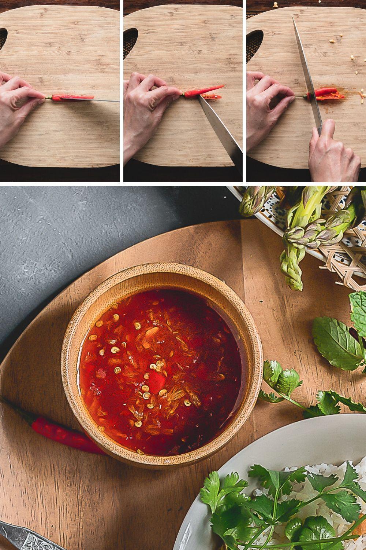 Zo snij en ontpit je een kleine chilipeper voor een minder pittige Thaise dressing.