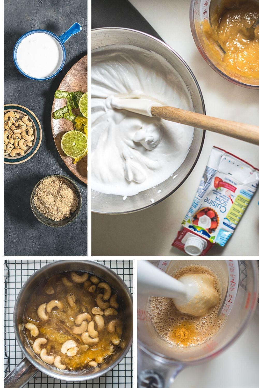 Bereidingswijze van vegan citroenijs: cashewnoten, citroen en suiker in een pan. Inkoken, met staafmixer pureren. Room opkloppen.