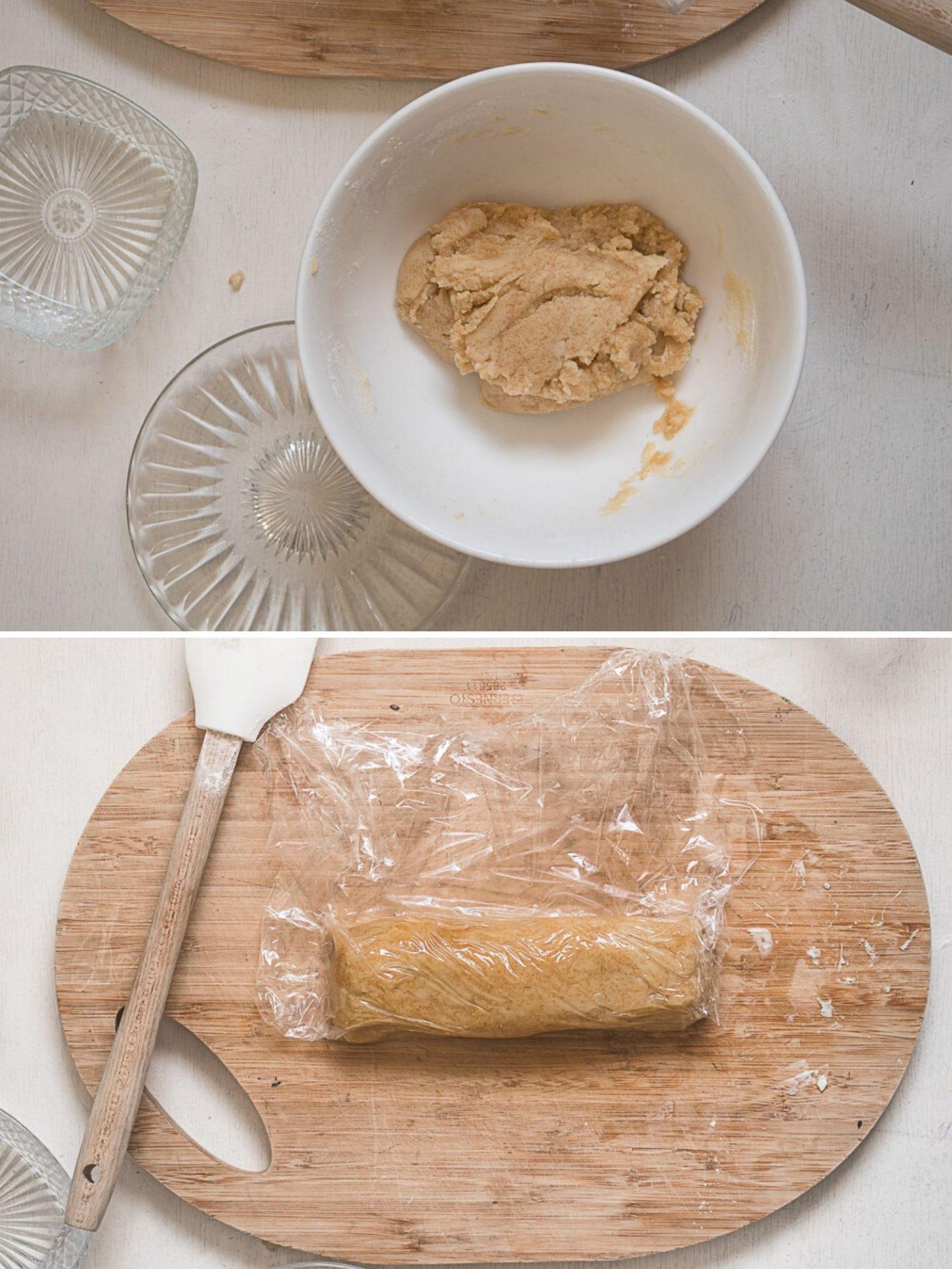 Vegan koekjesdeeg in een witte kom. En een rol met deeg in folie.