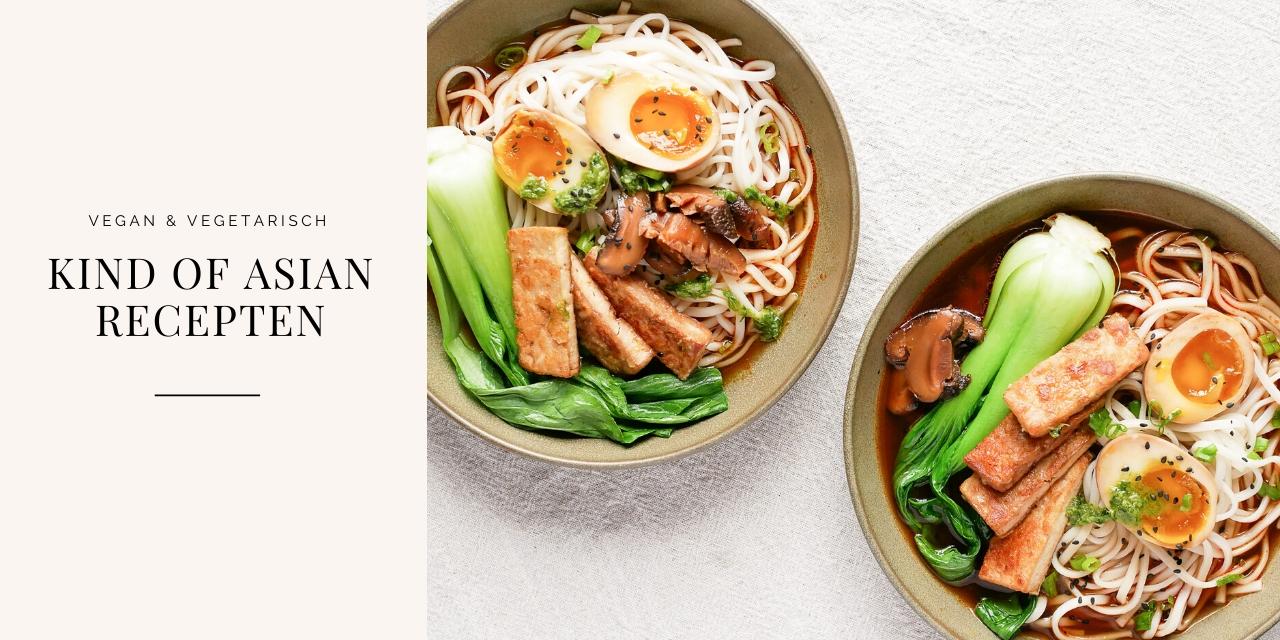 Vegetarische Japanse ramensoep met tofu, shiitakes en gemarineerde eieren.