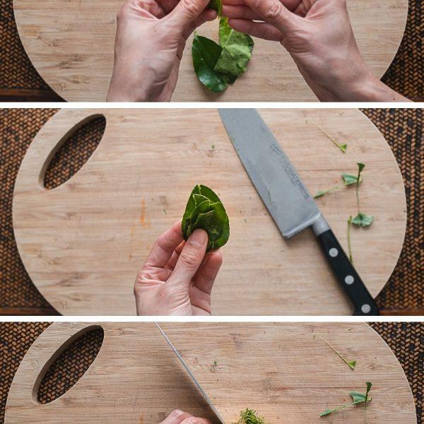 Limoenblad oprollen en in ragfijne dunne sliertjes snijden.