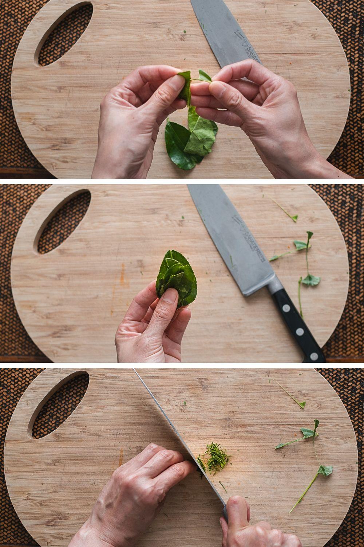 Harde limoenbladeren zijn heel stevig en daarom alleen eetbaar in heel dunne sliertjes. Ik leg je hier uit hoe je het beste kaffirlimoenbladeren snijdt.