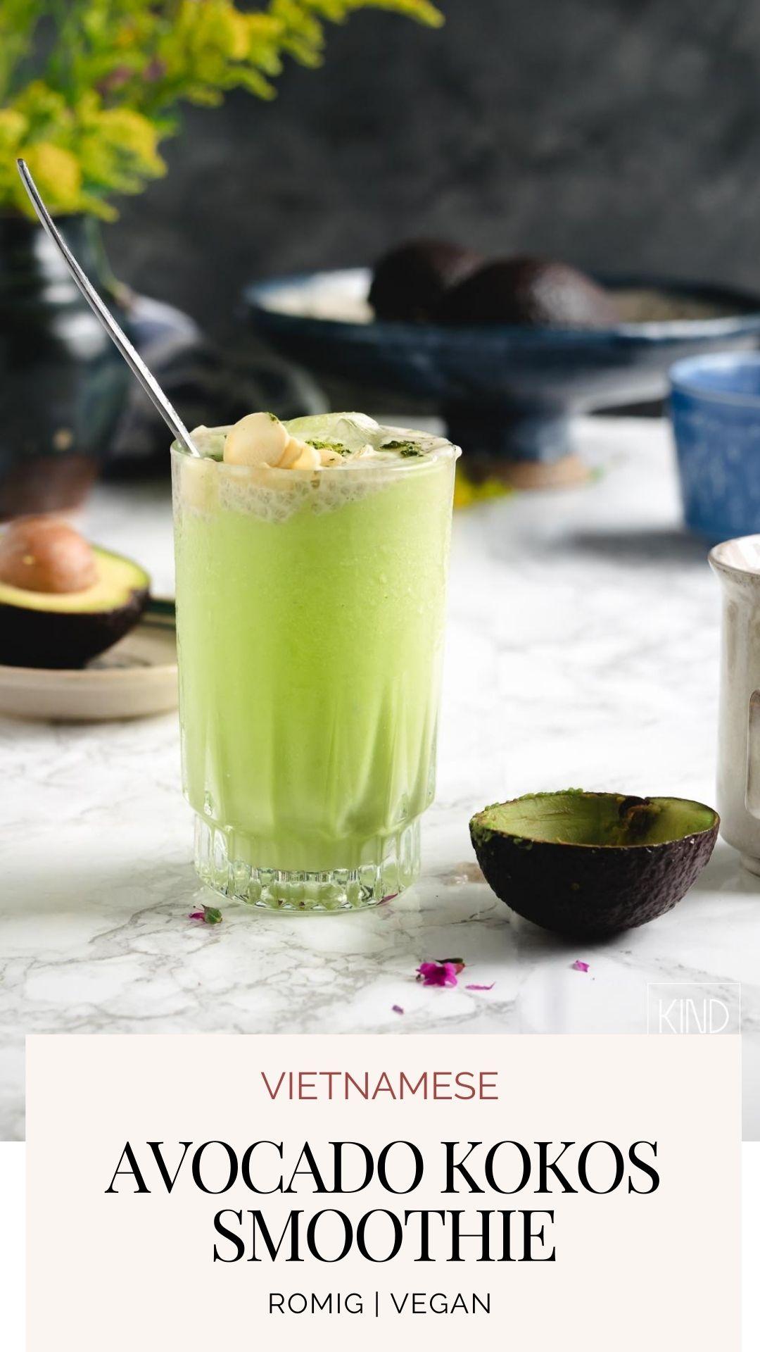 Vietnamese avocado en gecondenseerde kokosmelk smoothie? Wat mij betreft is dit een romig en zoet vegan toetje dat onder de categorie 'gezond' valt!