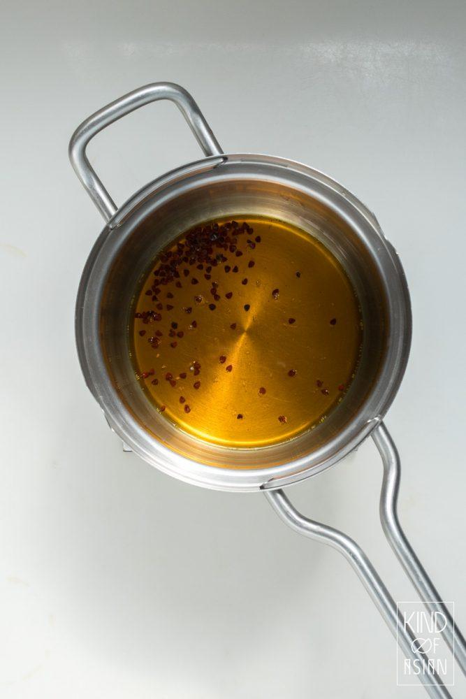 Pan met hete olie