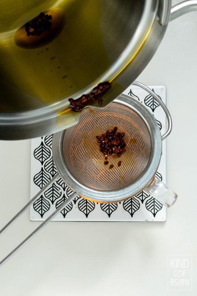 Pan met olie zeven