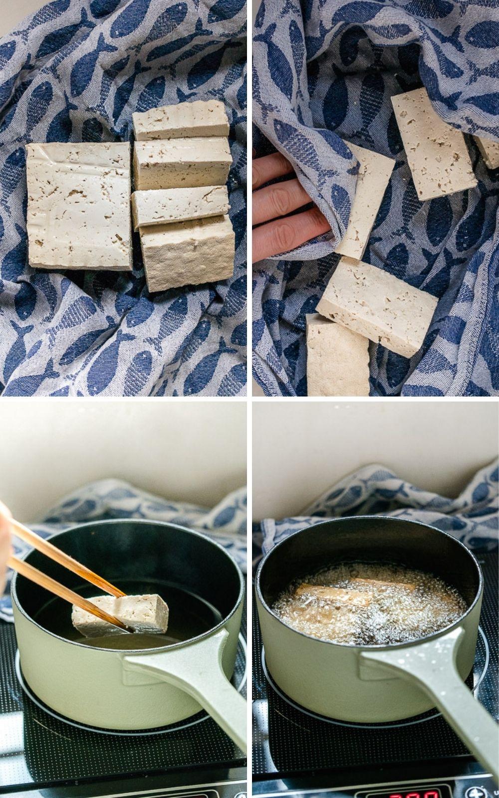 Een simpele (en traditionele) bereiding van tofu waardoor het een heel andere textuur krijgt: in blokjes snijden en frituren. De tofu wordt dan stevig aan de buitenkant en zacht en sponzig vanbinnen.