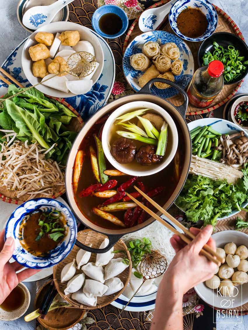 Authentieke vegan Chinese fondue