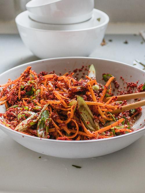 Vegan kimchi pasta