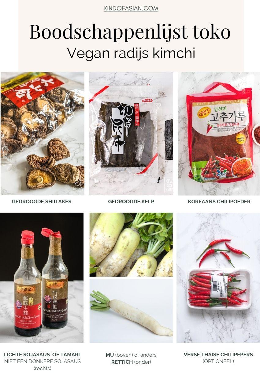 Boodschappenlijst toko voor vegan kimchi
