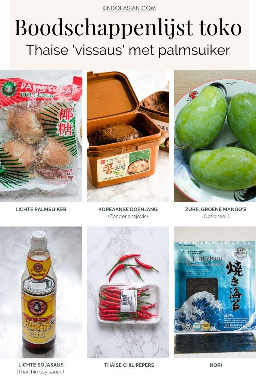 Ingrediënten voor Thaise vegan 'vissaus' met palmsuiker voor fruit