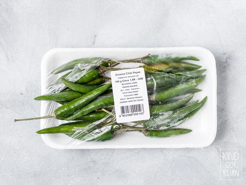 Groene Thaise chili peper